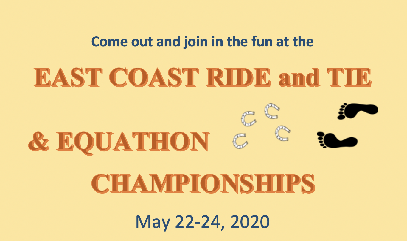 Come out and join in the fun at the East Coast Ride and Tie & Equathon Championships – May 22-24, 2020