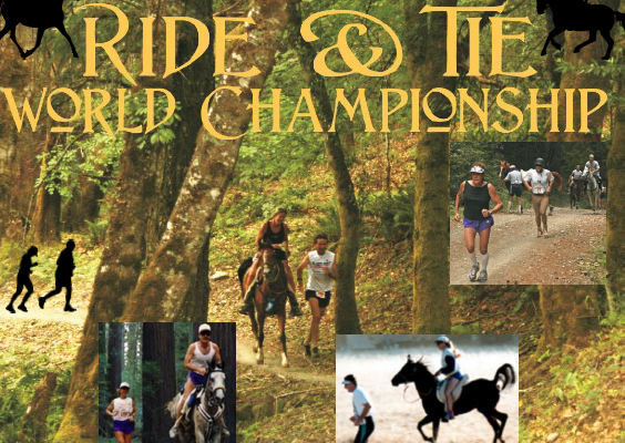 Ride & Tie World Championship graphic showing multiple riders and horses.